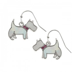 Westie Mother of Pearl Earrings