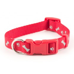 Reflective Paw n Bone Cherry Red Westie Collar - By Ancol