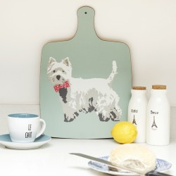 Betty Boyns Westie Chopping Board - Duck Egg Blue