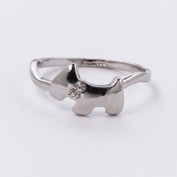 Crystal Sterling Westie Ring