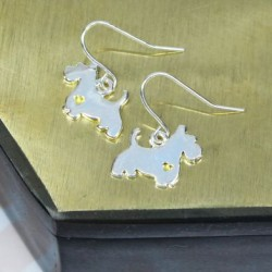 Silver Plated Westie Dog Drop Earrings