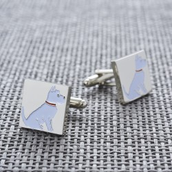 Sitting Westie Cufflinks - West Highland White Terrier Cufflinks