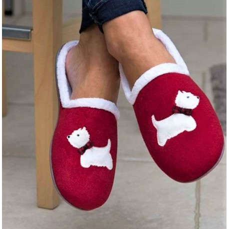 Red Westie Slippers