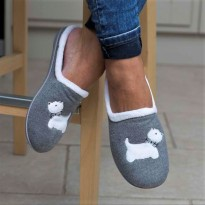 Grey Westie Slippers