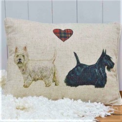 Westie & Scottie Dog Linen Mix Cushion
