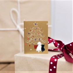 Black Cat and Westie Christmas Gift Tag - Pack of 10