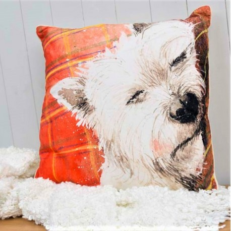 Westie Tartan Rug Cushion | Gift Ideas For Westie Lovers