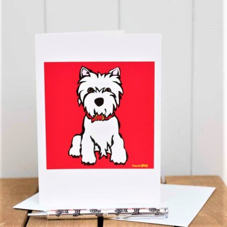 Westie On Red Greeting Card by Marc Tetro