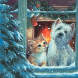 Westie and Tabby in the Window Christmas Napkins