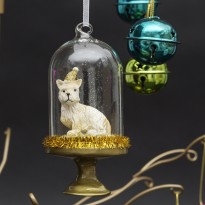 Hanging Glass Dome With Westie Tree Bauble