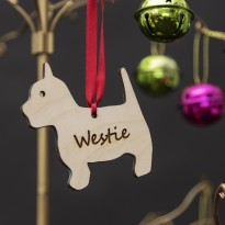 Wooden Westie Christmas Tree Ornament