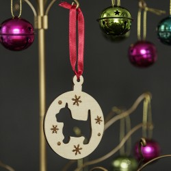 Wooden Westie Christmas Tree  Bauble Ornament