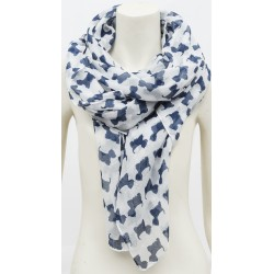 Blue Westie Scottie Wrap Around Scarf