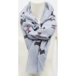 Tartan and Dotted Frayed Westie Scottie Scarf White