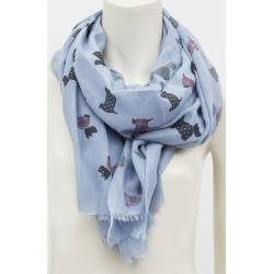 Tartan and Dotted Frayed Westie Scottie Scarf Blue