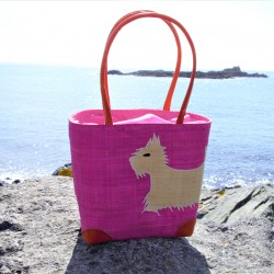 Westie Pink Raffia Bag Large