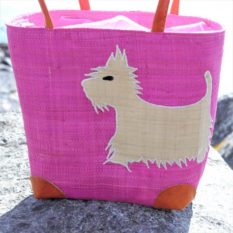 Westie Pink Raffia Bag Small