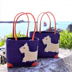 Westie Raffia Bag Purple Large