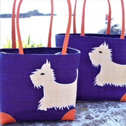 Westie Purple Raffia Bag Small
