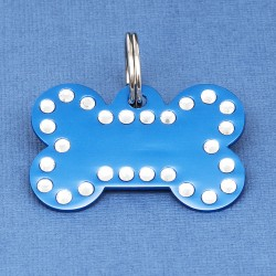 Crystal Bone Dog ID Tag Blue