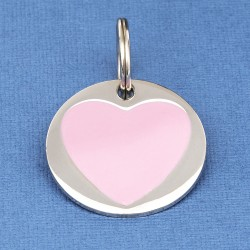 Large Heart Pet ID Tag Pink