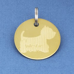West Highland Terrier ID Tag Brass