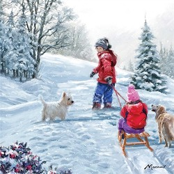 Charity Christmas Cards - Westie Winter Sledging - Pack of 10