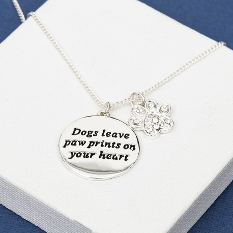 Dogs Leave Paw Pints Necklace Silver Plated