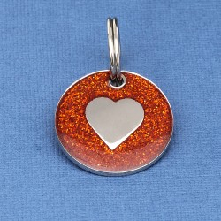 red Glitter Heart Dog Id Tag