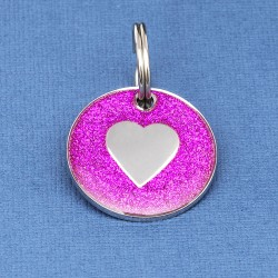 Pink Glitter Heart Dog Id Tag