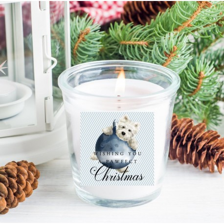 Archie Westie Christmas Candle