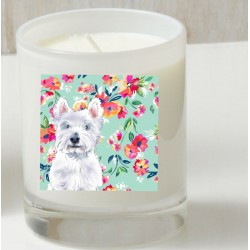 Charlie Westie Floral Candle