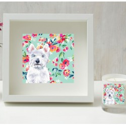 Charlie Westie Floral Shadow Frame