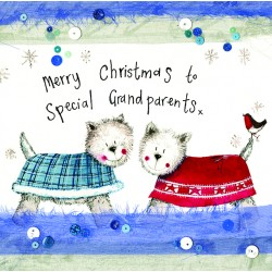 Grandparents Westie Christmas Cards by Alex Clark
