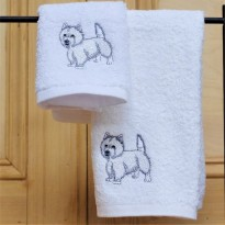Westie Face and Guest Towel Set