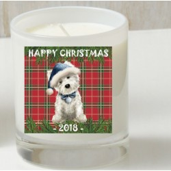 Westie Tartan Christmas Candle