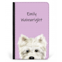 Personalised Westie Nose Passport Cover Pink