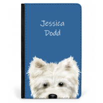 Personalised Westie Nose Passport Cover Blue
