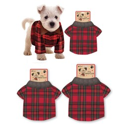 Red Tartan Dog Jacket - Small
