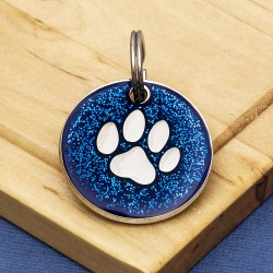 Blue GlitterPaw Dog Id Tag