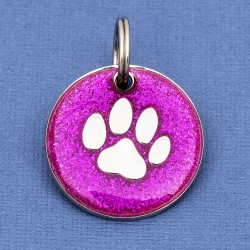 Purple Glitter Paw Dog Id Tag
