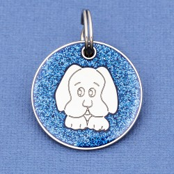 Blue Glitter Dog Id Tag