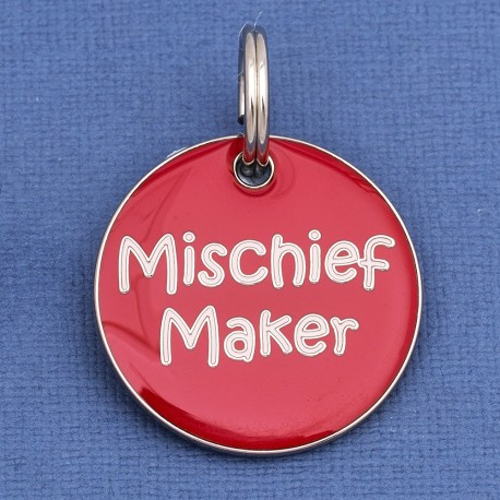 Mischief Maker Id Tag | Designer Dog Tag | Fun Dog Identification Tags