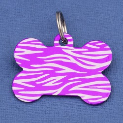Purple Large Bone Dog ID Tag Tiger Stripe