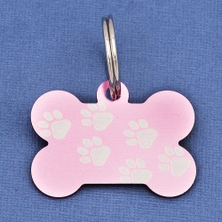 Pink Paw Bone Dog ID Tag