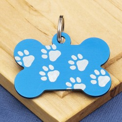 Blue Paw Bone Dog ID Tag