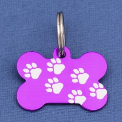 Purple Paw Bone Dog ID Tag