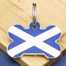 Scottish Flag Bone Pet ID Tag Large