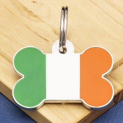 Irish Flag Bone Pet ID Tag Large