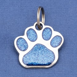 Glitter Paw Dog ID Tag Blue